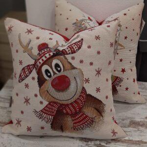 Cuscino arredo renne cappellino fiocco di neve